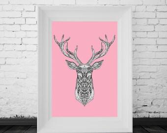 Reindeer Print Pink, Digital Print, Minimal Animal Art, Modern Wall Poster, Abstract Art, Modern Deer Poster