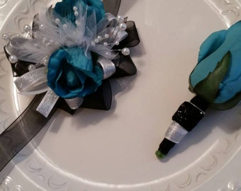 Prom Corsage Set Turquoise and Black Wrist Corsage and Matching Boutonniere Prom Set Wedding Set