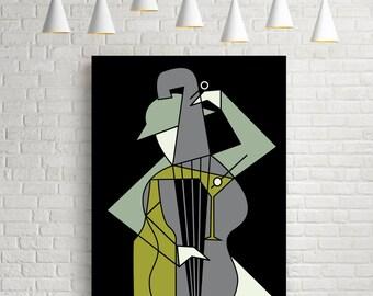 Music&alcohol, minimalist print, mid century modern, music poster, music art, music prints, jazz poster, jazz print, jazz art, wall art, art