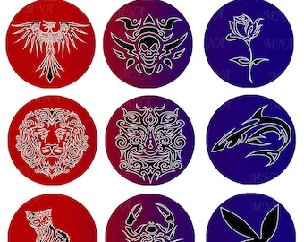 Tattoo mix Images Tattoo silhouette Collage 30 mm Round circles template - tattoo images