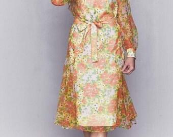 1970s Sheer Orange Floral Drop Waist Dress | Gatsby Dress | Downton Abbey Dress