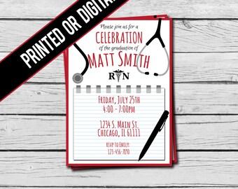 Printed OR  Digital File - Nursing Graduation Invitation