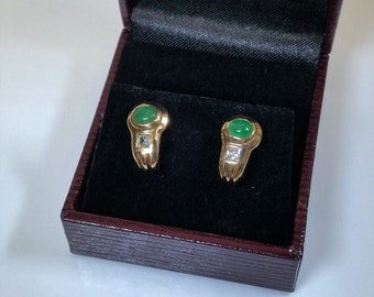 Earrings gold 333 earrings Emerald Crystal OR106