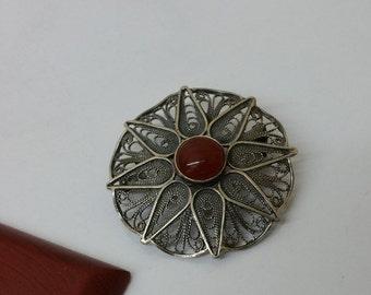 Antique pendant/brooch carnelian silver 835 vintage filigree SK205