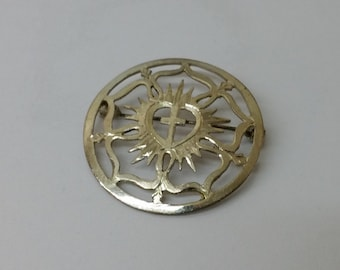 Brooch silver 835 costume jewelry cross anit old vintage SB217