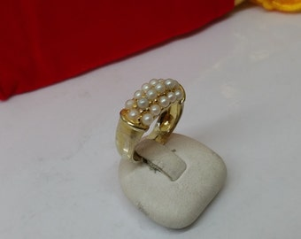 925 Silver ring gold plated small Pearl SR651