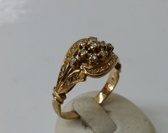 Antique gold ring with diamonds vintage GR142 585
