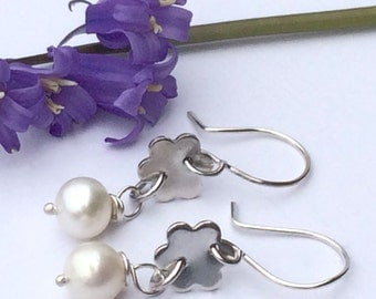 Silver and Pearl Drop Earrings, Handmade and Original