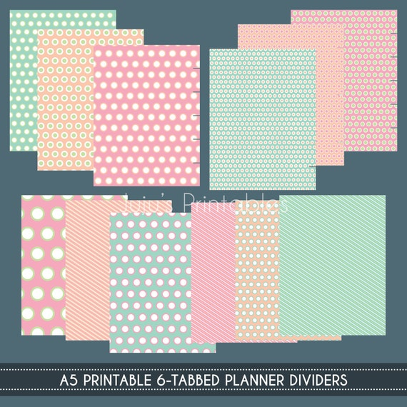 A5 Printable Planner Dividers: 6-Tabbed Front & By