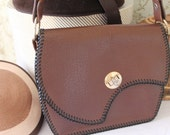 Vintage 195060s Brown Leather Handbag Leather Satchel Bag Leather Handbag SALE