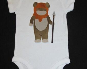 Boy Ewok / Baby Clothes / Star Wars / Hand Sewn /Baby Onesie / Bodysuit