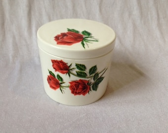 Vintage Plastic Rose Jar Retro Style Vintage Red Rose Storage Jar Plastic Storage Jar