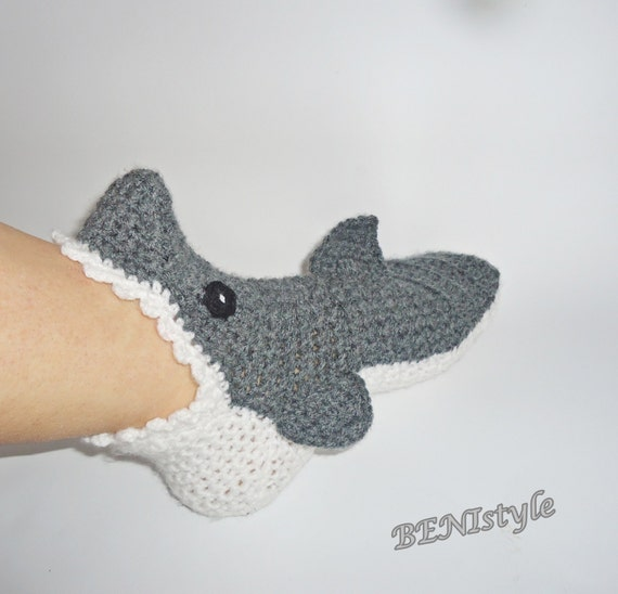 Crochet Shark Socks/Slippers Crochet Shark Socks Adult