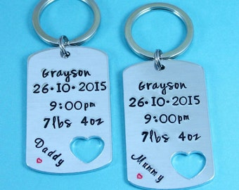 Birth Keepsake Matching Keyring Set | New Baby Gift | Personalised | Gift For New Parents | Hand Stamped Dog Tag | Bespoke | UK