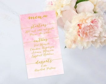 Pink and Gold Calligraphy Printable Menu, Customize and Print at Home, Bridal Shower, Wedding, Watercolor
