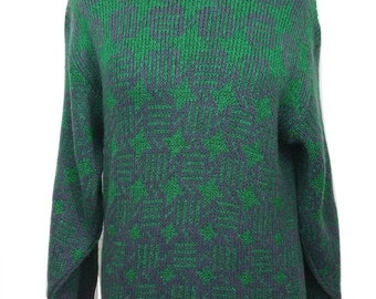 Vintage Jumper by Falmer in Green & Navy Blue Size Small - 1990s - Excellent Condition - Free Postage