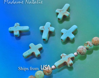 Turquoise Cross Beads (12 pc) 15 x 11mm, Turquoise Magnesite Beads, Blue Green Cross with Brown Pattern, Small Cross Turquoise Charms Beads