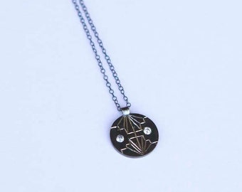 Sterling Silver Necklace- Disc Pendant- Hand engraved Art Deco- with Swarowski stones