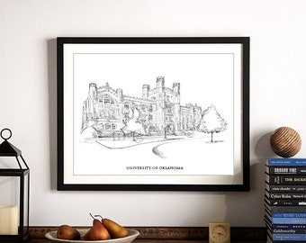 University of Oklahoma Hand Drawn Print on Watercolor Paper, Signed Artwork, OU Alumni ( 5 x 7, 8 x 10, 13 x 19 and 16 x 20)