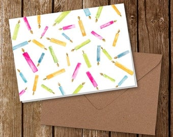 Birthday Candles Greeting Card   Watercolor Art Print   Colorful Candles   5x7