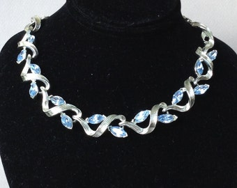 Lisner Silver Tone Blue Sapphire Navette Rhinestone Necklace