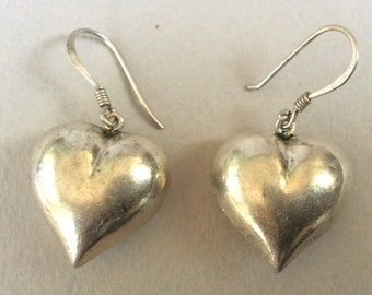 Sterling Silver Puffed Heart Dangle Pierced Earrings