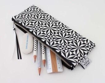 Black and white pencil case/Original ANJESY Designs.