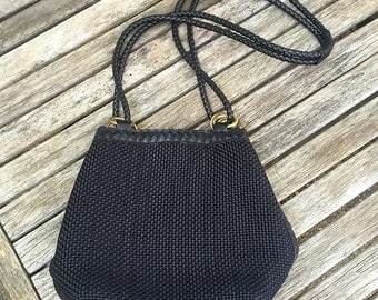 Vintage Black Woven Shoulder/Crossbody Purse with Braided Leather