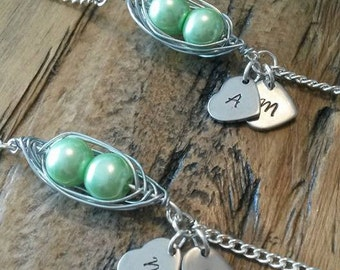Precious pea pod bracelet, mother day, mothers day gift, two peas in a pod, baby twins, childrens initial bracelet, gift for her, greenery