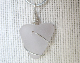 Frosty White Heart Sea Glass Necklace/Pendant/Sterling Wire Wrapped/Jewelry/Urban Boho/Maine/Sea Swag