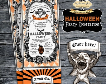 Halloween Ticket Invitation - Halloween Party Invitation - Halloween Invitation - Scary Party Invite - Printable Halloween - Halloween Party