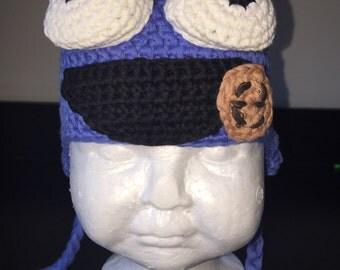 Monster crochet hat, cookie hat, blue monster hat, blue hat, blue knit hat, knitted hat, monster costume, baby monster hat, crochet cookie