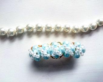 Turquoise Hair Clip MInt Barrette bead hair clip womens gift gift for her white barrette bridal barrette bride barrette gift for woman cream