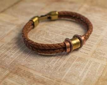Men's Braided Brown Leather Cuff With Copper and Brass Accents