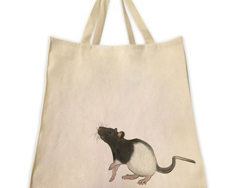 Pet Gifts, Black and White Rat, Gifts for Rodent Lovers, Gifts for Black and White Rat Lovers, Cotton Over The Shoulder Handbag Tote Bag