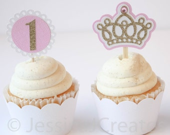 Crown Cupcake Toppers - Glitter Cupcake Toppers - Princess Cupcake Toppers - Cupcakes - Princess Crown - First Birthday - 1st Birthday