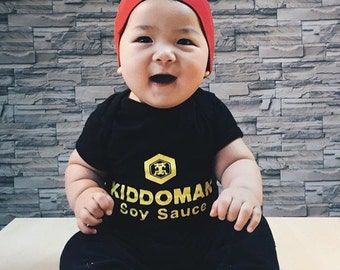 Baby Shower Gift - Soy Sauce Bodysuit and Hat - Food Babysuit and Hat - Unique Baby Shower Gift