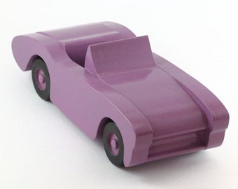 Purple Wooden Toy Car perfect for children's birthday or as a Christmas gift.