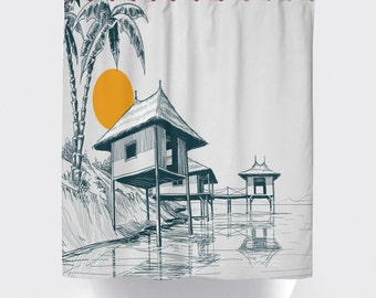 Asian hut shower curtains,Cowboy shower curtains, bathroom curtains,American Made shower curtain,Asian shower curtian,Bamboo curtain.