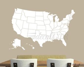 United States Map Wall Decal - Dry Erase America USA Wall Art Decor U.S.A. US Sticker Chalkboard Matt Vinyl Office white black board - V004