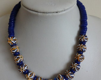 Vintage Blue Glass Necklace, Artisan Glass Necklace, Hand Painted Glass Necklace