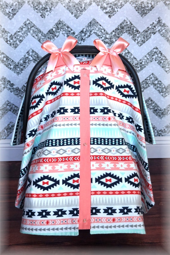 Coral Amp Teal Tribal Aztec Polka Dot Navy Bows Carseat Canopy