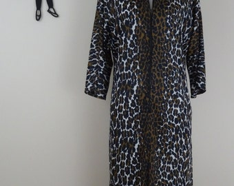 Vintage 1960's Leopard Print Dress / 60s Lounge Wear Maxi Dress XL/XXL  tr