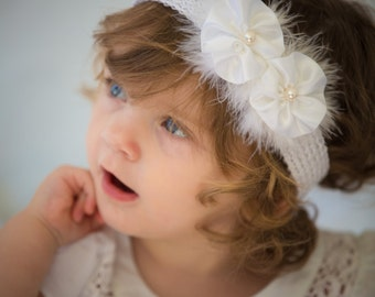 Baby baptism white headband. Meshes and white satin flowers, pearls and Crystal Swan feathers
