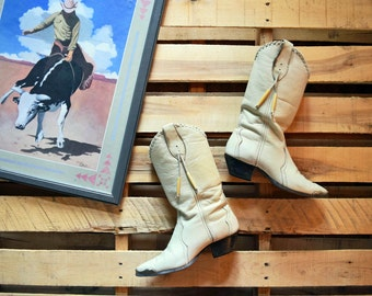 Vintage Women's 7 M <> LAREDO Cream White Leather Cowboy Boots with Beads <> Cowgirl Western
