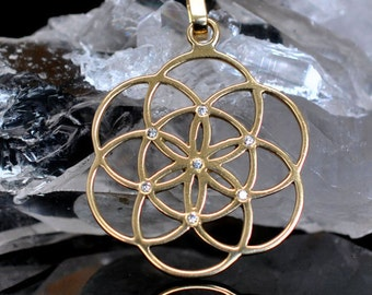 Gold Seed of life 18ct or 14ct pendant encrusted with diamonds, Sacred geometry 18k gold