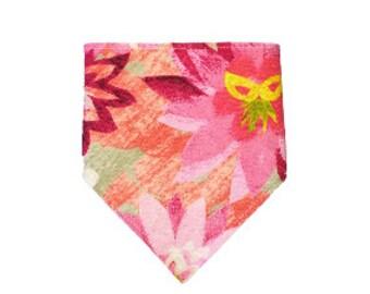 Drool Bib <<Pink Flowers>> Neckerchief/Baby/Toddler Bandana/Scarf/Bib//Dark Pink//Light Pink//Yellow//White