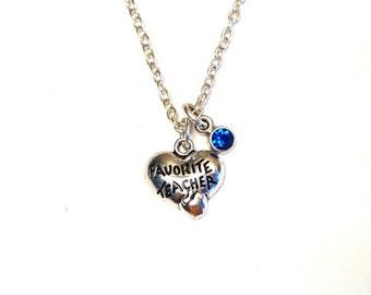 Favorite Teacher Necklace, Favorite Teacher Charm, Favorite Teacher Pendant, Favorite Teacher Jewelry, Teacher Necklace, Gift for Teacher