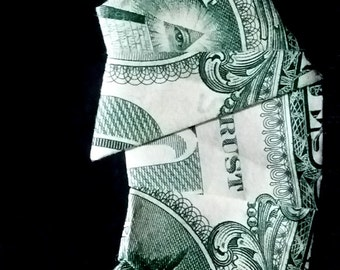Crescent MOON Art Gift Money Origami Real One Dollar Bill