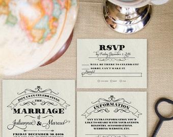 Wedding Invitation set, Vintage  Wedding Invitation, DIGITAL Printable Invitations, Vintage invitation set: Old School